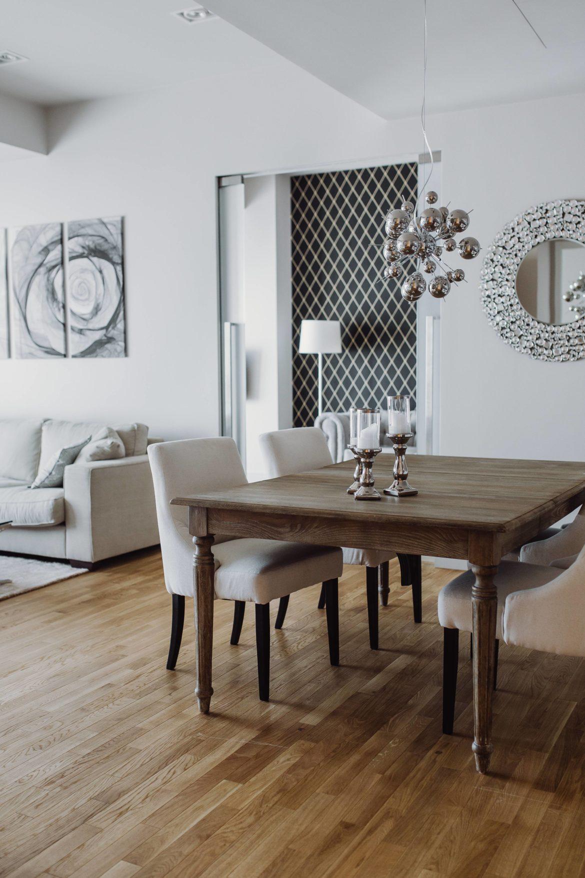 bright interior of a designer living room