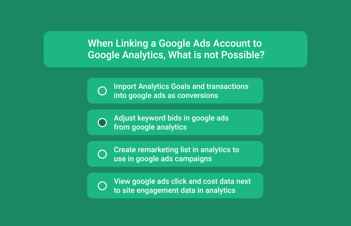 When Linking A Google Ads Account To Google Analytics, What Is Not Possible