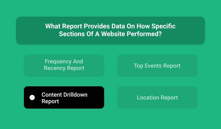 What Report Provides Data On How Specific Sections Of A Website Performed